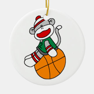 Sock Monkey Basketball T-shirts and Gifts Double-Sided Ceramic Round Christmas Ornament
