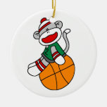 Sock Monkey Basketball T-shirts and Gifts Christmas Ornament