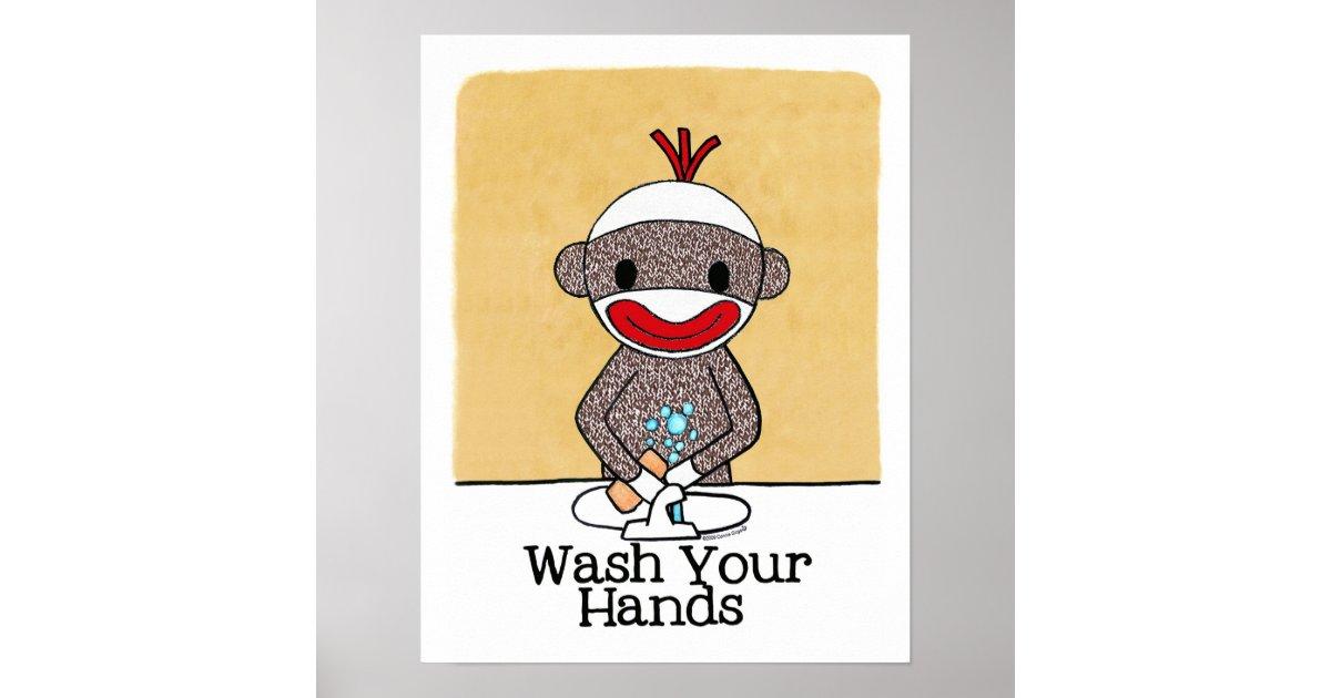 Sock Monkey Bathroom Reminder Wash Your Hands Poster