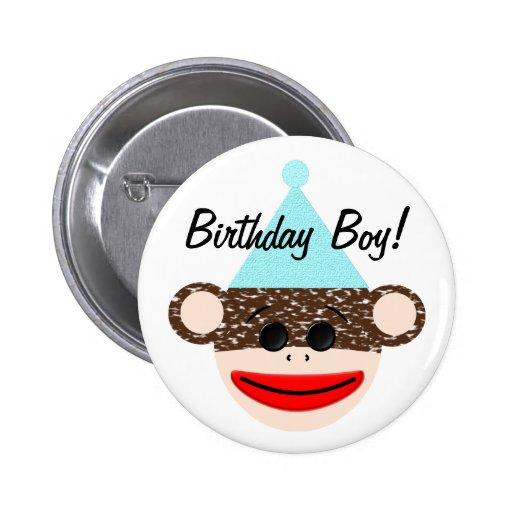 Sock Monkey Birthday Boy Button