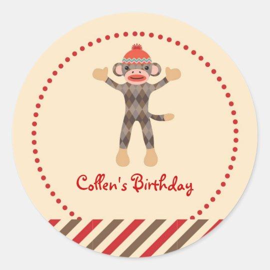 Sock Monkey Birthday Favor Sticker