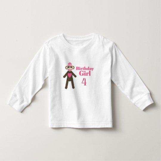 Sock Monkey Birthday Girl Toddler T-shirt