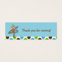 Sock Monkey Birthday Goodie Bag Tags