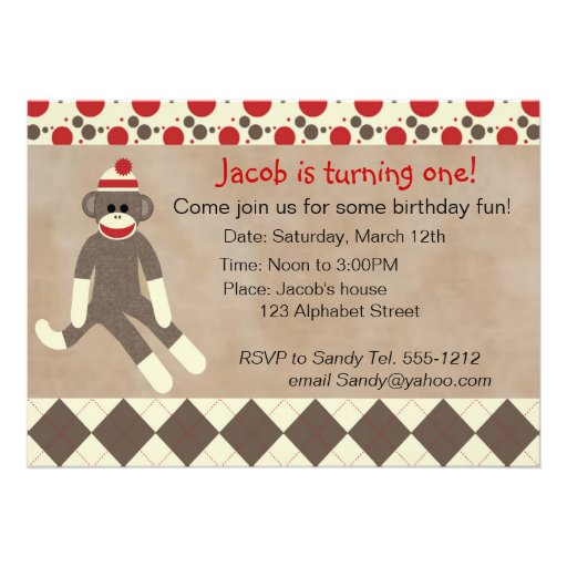 Sock Monkey Birthday Invitations for your inspiration to make invitation template look beautiful