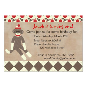 Sock Monkey Birthday Invitation 5
