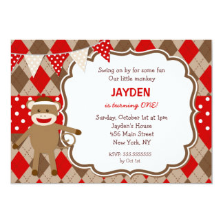Sock Monkey Birthday Invitations