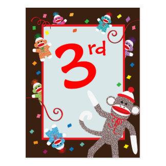 Sock Monkey Birthday Party Banner 3rd Postcard