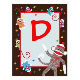 Sock Monkey Birthday Party Banner 'D' Postcard