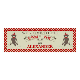 Sock Monkey Birthday party banner personalize Poster
