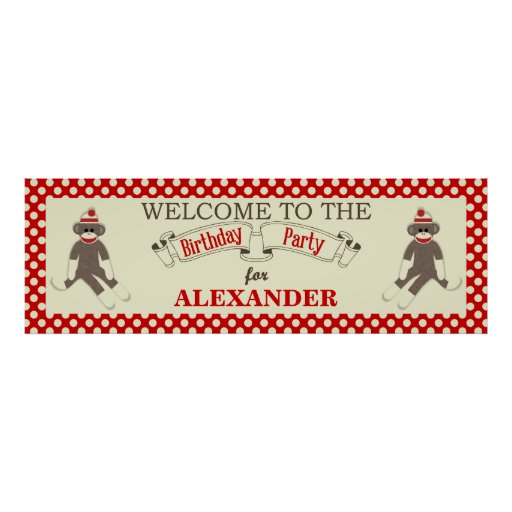 Sock Monkey Birthday party banner personalize Posters