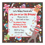 Sock Monkey Birthday Party Invitation Card