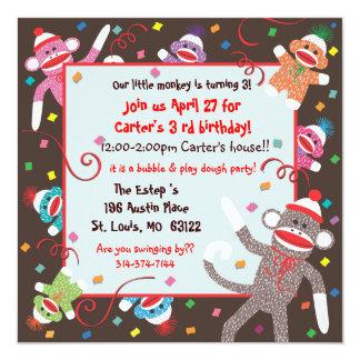 "Sock Monkey Birthday Party Invitation Card 5.25"" Square Invitation Card"