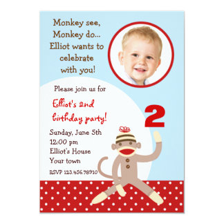 Sock Monkey Birthday Party Invitations
