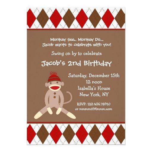 Sock Monkey Birthday Invitations