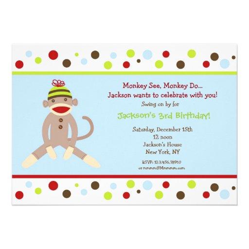 Sock Monkey Birthday Party Invitations Kids