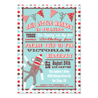 Sock Monkey Birthday Party Poster 5x7 Paper Invitation Card