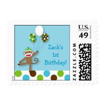 Sock Monkey Birthday Postage Stamps
