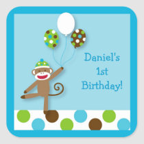 Sock Monkey Birthday Stickers Envelope Seals