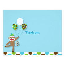 Sock Monkey Birthday Thank You Note Cards
