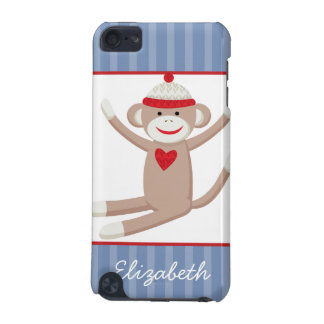 Sock Monkey Blue Stripe iPod Touch Custom Case