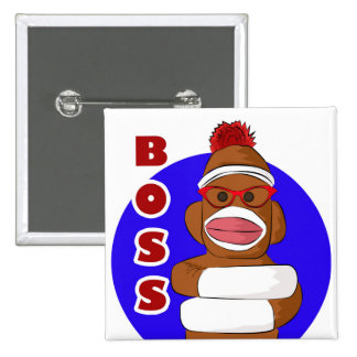 Sock Monkey Boss Button