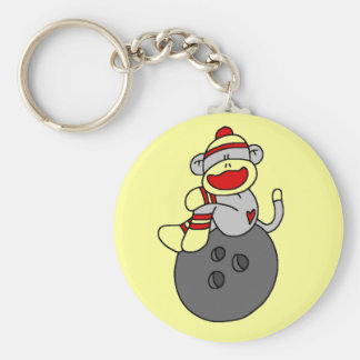 Sock Monkey Bowling T-shirts and Gifts Basic Round Button Keychain