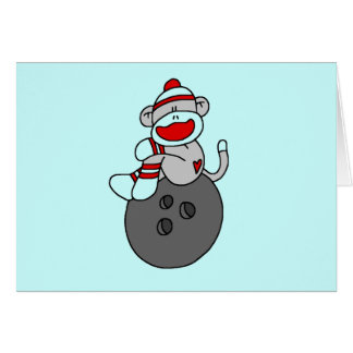 Sock Monkey Bowling T-shirts and Gifts Card