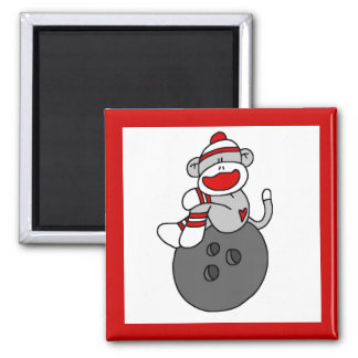 Sock Monkey Bowling T-shirts and Gifts 2 Inch Square Magnet