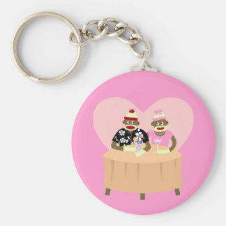 Sock Monkey Boy and Girl Romance Keychain