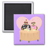 Sock Monkey Boy and Girl Romance 2 Inch Square Magnet
