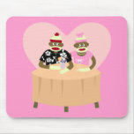 Sock Monkey Boy and Girl Romance Mouse Pad