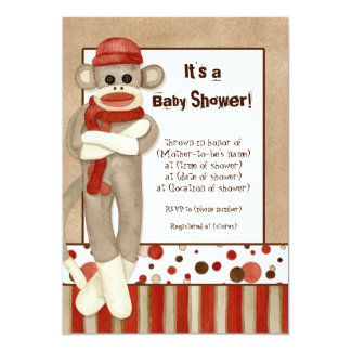 Sock Monkey, Boy Baby Shower Invitation