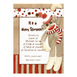 Sock Monkey, Boy Baby Shower Invitation