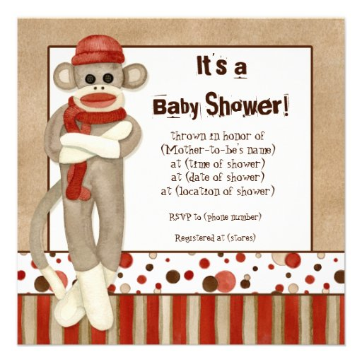 Sock Monkey Baby Shower Invitations is the best ideas you have to choose for invitation example