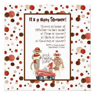 Sock Monkey Boy Baby Shower Invitation