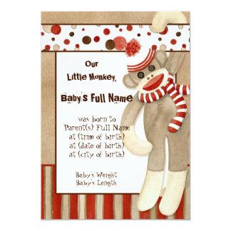Sock Monkey, Boy Birth Announcement