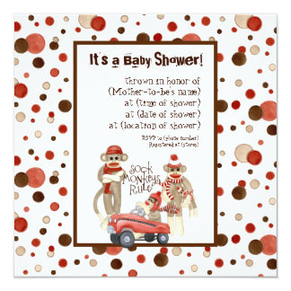 Sock Monkey, Boy Birthday Party Invitation