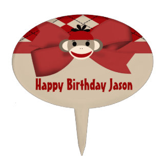 Sock Monkey Boy Gingham Birthday Party Cake Topper