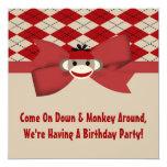 Sock Monkey Boy Gingham Birthday Party Invites