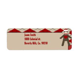 Sock Monkey Boy Gingham Birthday Party Custom Return Address Labels