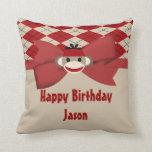 Sock Monkey Boy Gingham Birthday Party Pillows