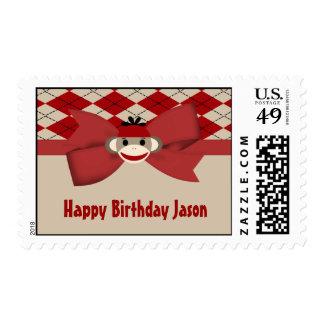 Sock Monkey Boy Gingham Birthday Party Stamp