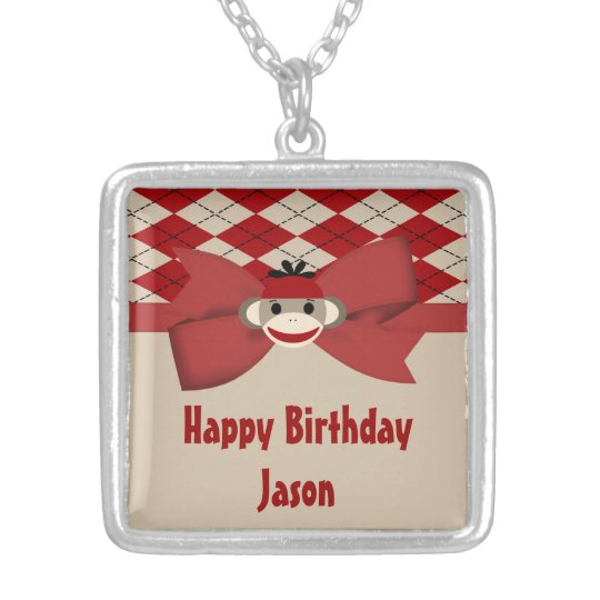 Sock Monkey Boy Gingham Birthday Party Silver Plated Necklace