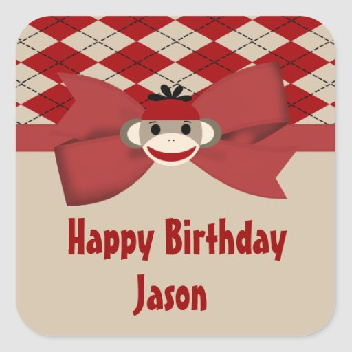 Sock Monkey Boy Gingham Birthday Party Square Sticker