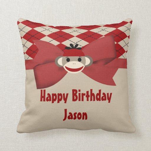 Sock Monkey Boy Gingham Birthday Party Throw Pillow