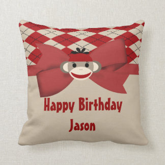 Sock Monkey Boy Gingham Birthday Party Throw Pillow