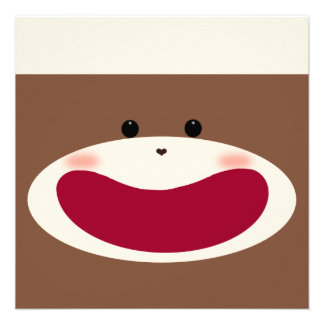 Sock Monkey Boy Invitation