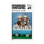 Sock Monkey Bride & Groom w Guitar on Camping Van Postage Stamps