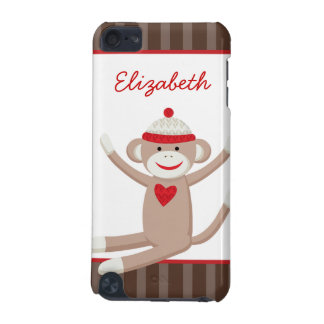 Sock Monkey Brown Stripe iPod Touch Custom Case