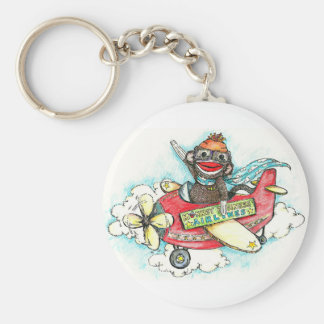 Sock Monkey Business Airlines Basic Round Button Keychain